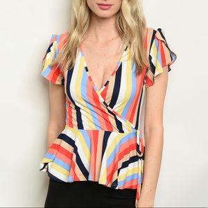 Rainbow striped wrap style top, short sleeve NEW